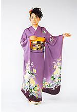 671 紫系 藤色花柄 サムネイル