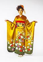 685 黄系 金茶白い花柄 サムネイル